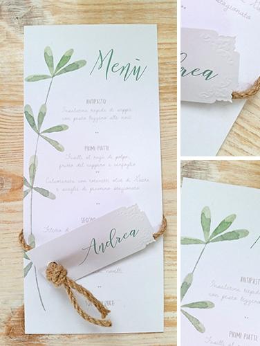 DANIELA - Menù da piatto, in carta bianca liscia, formato rettangolare 9,7x21 cm. Stampa floreale con rametto, cordino in giro con nodo per insermento di segnaposto.