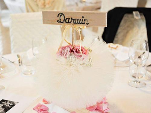 DARWIN - Segnatavolo, targa in legno verniciato effetto shabby chic con nome del tavolo. Bastoncino circolare in legno da inserire nel centrotavola.