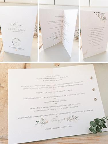 KATE - Menù, tipologia da tavolo, rettangolare, 1 piega. Stampa del menù all'interno. Copertina personalizzata, frase d'amore sul retro. Misure chiuso: 21×14,5cm.